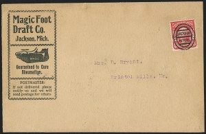 Sale Number 1165, Lot Number 219, 1902-08 Issue: Covers, 2c Shield2c Carmine, Ty. I (319), 2c Carmine, Ty. I (319)