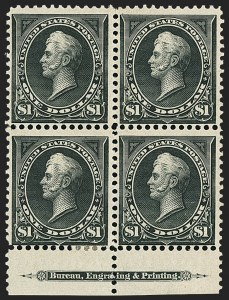 Sale Number 1165, Lot Number 28, 1894-98 Bureau Issue: Issued Stamps and Covers$1.00 Black, Ty. I-II (276-276A), $1.00 Black, Ty. I-II (276-276A)