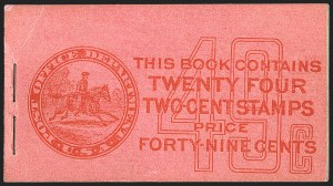 Sale Number 1166, Lot Number 1007, 1912-14 Washington-Franklin Issue (Scott 405-423)2c Carmine, Complete 49c Booklet (BK39), 2c Carmine, Complete 49c Booklet (BK39)