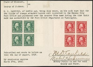 Sale Number 1166, Lot Number 1009, 1912-14 Washington-Franklin Issue (Scott 405-423)1c Green, 2c Carmine, Imperforate, Kansas City Roulette (408 var, 409 var), 1c Green, 2c Carmine, Imperforate, Kansas City Roulette (408 var, 409 var)