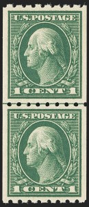 Sale Number 1166, Lot Number 1010, 1912-14 Washington-Franklin Issue (Scott 405-423)1c Green, Coil (410), 1c Green, Coil (410)