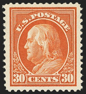 Sale Number 1166, Lot Number 1016, 1912-14 Washington-Franklin Issue (Scott 405-423)30c Orange Red (420), 30c Orange Red (420)