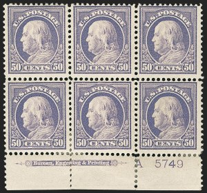 Sale Number 1166, Lot Number 1021, 1912-14 Washington-Franklin Issue (Scott 405-423)50c Violet (422), 50c Violet (422)