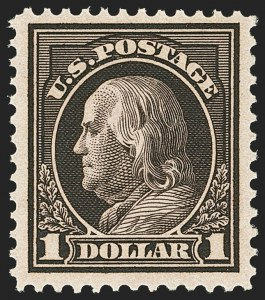 Sale Number 1166, Lot Number 1022, 1912-14 Washington-Franklin Issue (Scott 405-423)$1.00 Violet Brown (423), $1.00 Violet Brown (423)