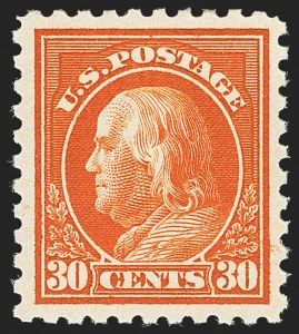 Sale Number 1166, Lot Number 1029, 1913-15 Washington-Franklin Issues (Scott 424-461)30c Orange Red (439), 30c Orange Red (439)