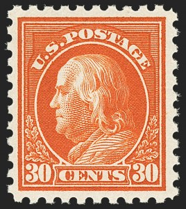 Sale Number 1166, Lot Number 1030, 1913-15 Washington-Franklin Issues (Scott 424-461)30c Orange Red (439), 30c Orange Red (439)