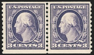 Sale Number 1166, Lot Number 1033, 1913-15 Washington-Franklin Issues (Scott 424-461)3c Violet, Coil (445), 3c Violet, Coil (445)