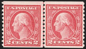 Sale Number 1166, Lot Number 1036, 1913-15 Washington-Franklin Issues (Scott 424-461)2c Carmine Rose, Ty. I, Coil (453), 2c Carmine Rose, Ty. I, Coil (453)