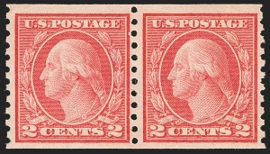 Sale Number 1166, Lot Number 1037, 1913-15 Washington-Franklin Issues (Scott 424-461)2c Red, Ty. II, Coil (454), 2c Red, Ty. II, Coil (454)
