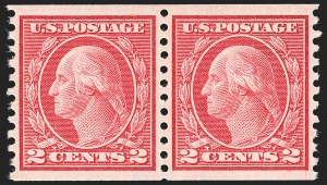 Sale Number 1166, Lot Number 1038, 1913-15 Washington-Franklin Issues (Scott 424-461)2c Carmine, Ty. III, Coil (455), 2c Carmine, Ty. III, Coil (455)