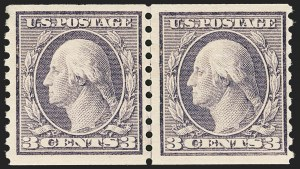 Sale Number 1166, Lot Number 1039, 1913-15 Washington-Franklin Issues (Scott 424-461)3c Violet, Coil (456), 3c Violet, Coil (456)