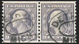 Sale Number 1166, Lot Number 1040, 1913-15 Washington-Franklin Issues (Scott 424-461)3c Violet, Coil (456), 3c Violet, Coil (456)