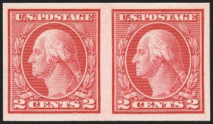 Sale Number 1166, Lot Number 1042, 1913-15 Washington-Franklin Issues (Scott 424-461)2c Carmine, Ty. I, Imperforate Coil (459), 2c Carmine, Ty. I, Imperforate Coil (459)