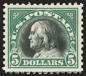 Sale Number 1166, Lot Number 1095, 1917-20 Issues (Scott 498-524)$5.00 Deep Green & Black (524), $5.00 Deep Green & Black (524)