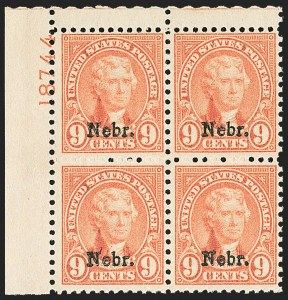 Sale Number 1166, Lot Number 1170, 1925 and Later Issues (Scott 628-1529)9c Nebr. Ovpt. (678), 9c Nebr. Ovpt. (678)