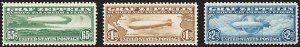 Sale Number 1166, Lot Number 1215, Air Post, cont. (C13-C15, later)65c-$2.60 Graf Zeppelin (C13-C15), 65c-$2.60 Graf Zeppelin (C13-C15)