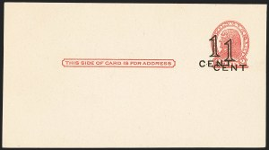 Sale Number 1166, Lot Number 1257, Parcel Post, Carrier, Postal Stationery1c on 2c Red on Buff, Die I, Postal Card, Double Surcharge (UX34a), 1c on 2c Red on Buff, Die I, Postal Card, Double Surcharge (UX34a)