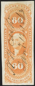 Sale Number 1166, Lot Number 1299, Revenues: First Issue (R1-R74)60c Inland Exchange, Imperforate (R64a), 60c Inland Exchange, Imperforate (R64a)