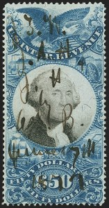Sale Number 1166, Lot Number 1347, Revenues: Second and Third Issues, Proprietary$20.00, $25.00, $50.00 Blue & Black, Second Issue (R129-R131), $20.00, $25.00, $50.00 Blue & Black, Second Issue (R129-R131)