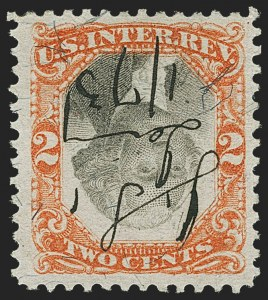 Sale Number 1166, Lot Number 1350, Revenues: Second and Third Issues, Proprietary2c Orange & Black, Third Issue, Center Inverted (R135b), 2c Orange & Black, Third Issue, Center Inverted (R135b)