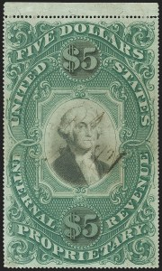 Sale Number 1166, Lot Number 1353, Revenues: Second and Third Issues, Proprietary$5.00 Green & Black on Violet Paper, Proprietary (RB10a), $5.00 Green & Black on Violet Paper, Proprietary (RB10a)