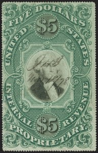Sale Number 1166, Lot Number 1354, Revenues: Second and Third Issues, Proprietary$5.00 Green & Black on Violet Paper, Proprietary (RB10a), $5.00 Green & Black on Violet Paper, Proprietary (RB10a)