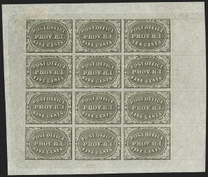 Sale Number 1166, Lot Number 545, Postmasters' ProvisionalsProvidence, Rhode Island, 5c & 10c Gray Black, Bogert & Durbin Second Reprint Sheet of Twelve (10X1-10X2R), Providence, Rhode Island, 5c & 10c Gray Black, Bogert & Durbin Second Reprint Sheet of Twelve (10X1-10X2R)