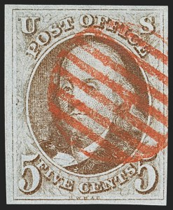 Sale Number 1166, Lot Number 549, 5c 1847 Issue (Scott 1)5c Red Brown (1), 5c Red Brown (1)