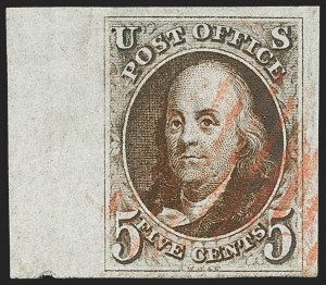 Sale Number 1166, Lot Number 552, 5c 1847 Issue (Scott 1)5c Red Brown (1), 5c Red Brown (1)