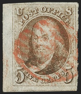 Sale Number 1166, Lot Number 554, 5c 1847 Issue (Scott 1)5c Red Brown (1), 5c Red Brown (1)