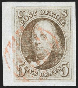 Sale Number 1166, Lot Number 555, 5c 1847 Issue (Scott 1)5c Brown (1), 5c Brown (1)