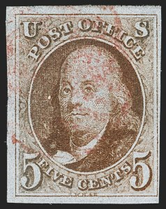 Sale Number 1166, Lot Number 556, 5c 1847 Issue (Scott 1)5c Red Brown (1), 5c Red Brown (1)