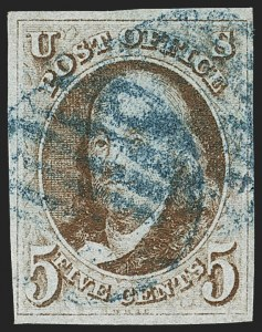 Sale Number 1166, Lot Number 557, 5c 1847 Issue (Scott 1)5c Red Brown (1), 5c Red Brown (1)