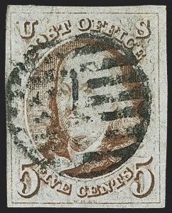 Sale Number 1166, Lot Number 558, 5c 1847 Issue (Scott 1)5c Red Brown (1), 5c Red Brown (1)