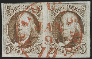 Sale Number 1166, Lot Number 560, 5c 1847 Issue (Scott 1)5c Red Brown, Double Transfer Ty. E (1-E), 5c Red Brown, Double Transfer Ty. E (1-E)
