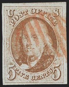 Sale Number 1166, Lot Number 565, 5c 1847 Issue (Scott 1)5c Orange Brown (1b), 5c Orange Brown (1b)