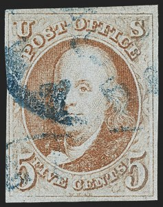 Sale Number 1166, Lot Number 566, 5c 1847 Issue (Scott 1)5c Orange Brown (1b), 5c Orange Brown (1b)