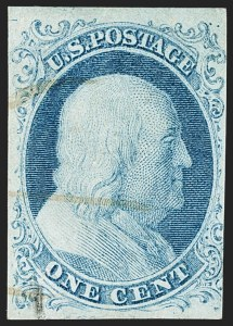 Sale Number 1166, Lot Number 587, 1c-3c 1851-56 Issue (Scott 5A-11A)1c Blue, Ty. Ib (5A), 1c Blue, Ty. Ib (5A)