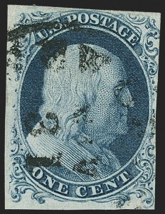Sale Number 1166, Lot Number 589, 1c-3c 1851-56 Issue (Scott 5A-11A)1c Blue, Ty. Ia (6), 1c Blue, Ty. Ia (6)