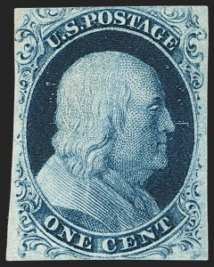 Sale Number 1166, Lot Number 590, 1c-3c 1851-56 Issue (Scott 5A-11A)1c Blue, Ty. II, Plate 3 (7), 1c Blue, Ty. II, Plate 3 (7)