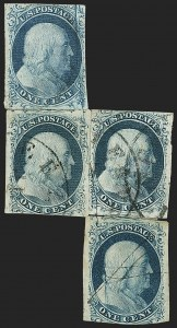 Sale Number 1166, Lot Number 593, 1c-3c 1851-56 Issue (Scott 5A-11A)1c Blue, Ty. II, Cracked Plate (7 var), 1c Blue, Ty. II, Cracked Plate (7 var)