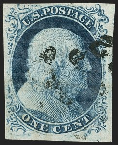 Sale Number 1166, Lot Number 595, 1c-3c 1851-56 Issue (Scott 5A-11A)1c Blue, Ty. III (8), 1c Blue, Ty. III (8)