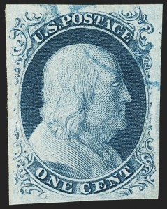 Sale Number 1166, Lot Number 596, 1c-3c 1851-56 Issue (Scott 5A-11A)1c Blue, Ty. IIIa (8A), 1c Blue, Ty. IIIa (8A)