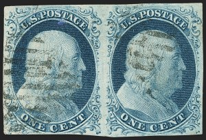 Sale Number 1166, Lot Number 597, 1c-3c 1851-56 Issue (Scott 5A-11A)1c Blue, Ty. IIIa-II (8A-7), 1c Blue, Ty. IIIa-II (8A-7)