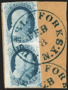 Sale Number 1166, Lot Number 598, 1c-3c 1851-56 Issue (Scott 5A-11A)1c Blue, Ty. II-IIIa (7-8A), 1c Blue, Ty. II-IIIa (7-8A)