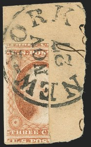 Sale Number 1166, Lot Number 600, 1c-3c 1851-56 Issue (Scott 5A-11A)3c Dull Red, Ty. I, Vertical Half Used as 1c (11 var), 3c Dull Red, Ty. I, Vertical Half Used as 1c (11 var)