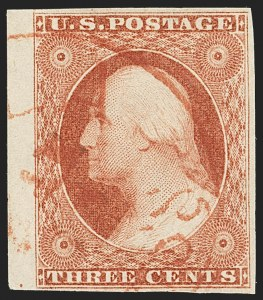 Sale Number 1166, Lot Number 601, 1c-3c 1851-56 Issue (Scott 5A-11A)3c Brownish Carmine, Ty. II (11A var), 3c Brownish Carmine, Ty. II (11A var)