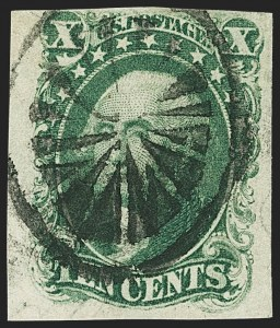 Sale Number 1166, Lot Number 607, 5c-12c 1851-56 Issue (Scott 12-17)10c Green, Ty. I (13), 10c Green, Ty. I (13)
