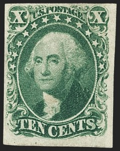 Sale Number 1166, Lot Number 608, 5c-12c 1851-56 Issue (Scott 12-17)10c Green, Ty. II (14), 10c Green, Ty. II (14)