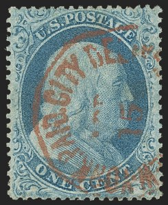 Sale Number 1166, Lot Number 621, 1857-60 Issue (Scott 18-39)1c Blue, Ty. I (18), 1c Blue, Ty. I (18)